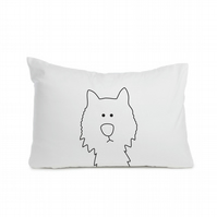 "Dog pillowcase 50 x 75cm  (20 x 30""), black colour, hand-painted"