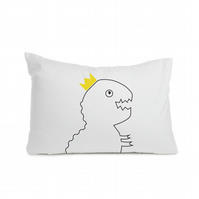 "Dinosaur t-rex pillowcase 50 x 75cm  (20 x 30""), black colour, hand-painted"