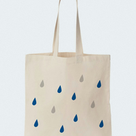 Raindrops Tote bag, Material shopping bag, Market bag, Beach bag