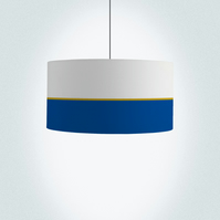 "Lines, navy and gold Drum Lampshade, Diameter 45 cm (18""), Ceiling or floor lamp"