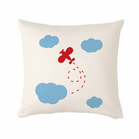 "Plane and clouds Cushion, cushion cover 50x50 cm (20x20"")"