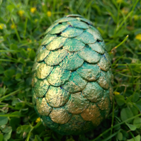 OOAK green gold small dragon egg