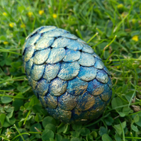 OOAK blue gold small dragon egg