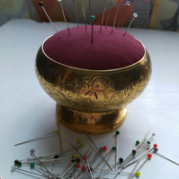 Upcycled Brass Pot Pin Cushion