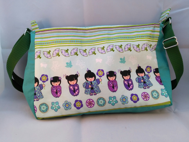 Ningyo Geisha Japanese doll cotton handbag