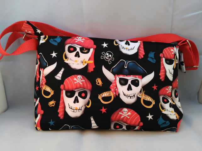 Avast me hearties! Pirate cotton handbag with adjustable strap