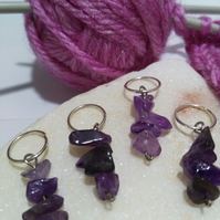 Stitch Markers for knitting and crochet genuine amethyst gemstone crystals