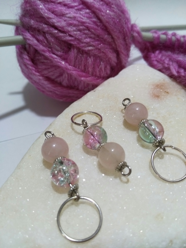 Stitch Markers with genuine rose quartz gemstone crystals and glass beads