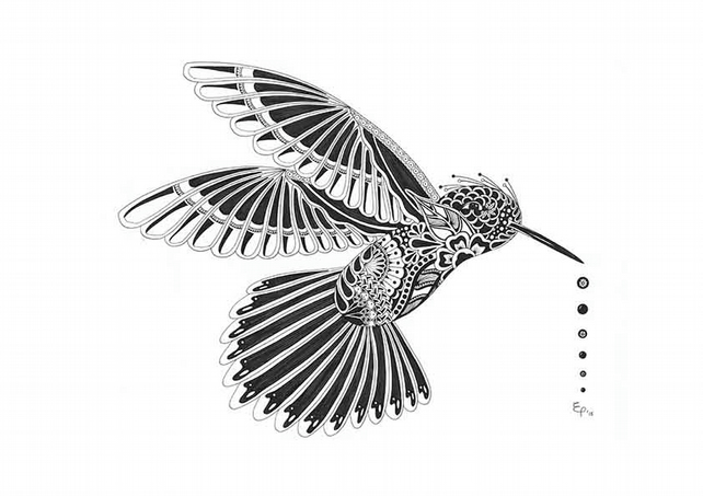 A4 Print of original Hummingbird drawing