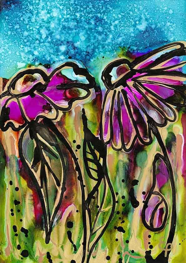 A4 Print of original double-flower alcohol ink painting