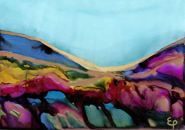 A4 print of original landscape alcohol ink painting