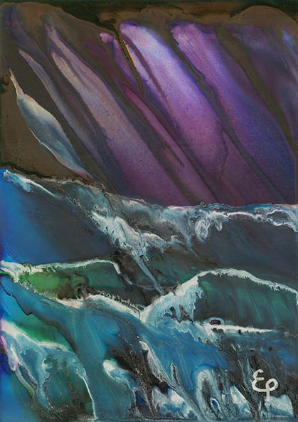 A4 Print of original waves alcohol ink painting