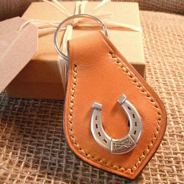 Luxury Leather Keyring, Lucky Horseshoe