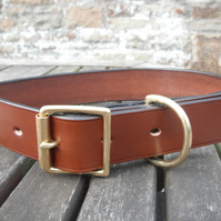 "1"" Wide Bridle leather Dog Collar"