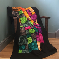 Batik stain glass window effect quilt ( quillow)