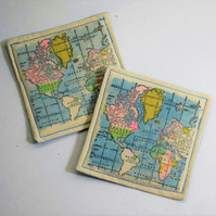 World Map Fabric Coasters
