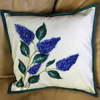 Floral Cushion - featuring hand painted Lilac