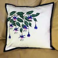 Floral Cushion - featuring hand painted Fuchsia in blue and pink