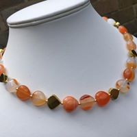 Carnelian and pyrite heart necklace