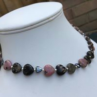 Rhodonite and hematite heart necklace