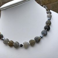 Labradorite and hematite heart necklace