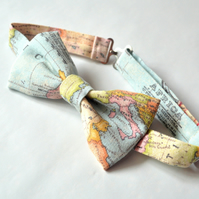 World map bow tie, wedding bow tie, travel bow tie, retro map bow tie