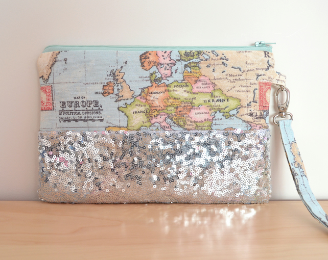 World map clutch, silver sequin wristlet, silver clutch, sequin evening clutch