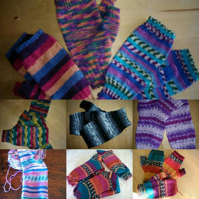 Hand-knitted handwarmers, fingerless gloves, texting gloves,