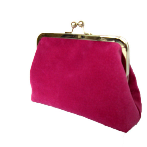 Sugar Pink Vintage Suede Mini Clutch