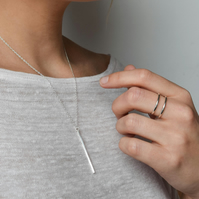 Bar Necklace - Vertical Bar Necklace - Layering Necklace - Silver Bar Necklace