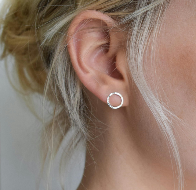 Dimple-hammered Silver Circle Studs - Open Circle Earrings - UK Handmade