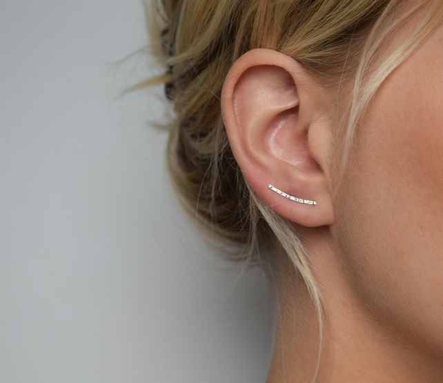 Ear Climber - Ear Crawler - Silver Ear Climber - Hammered Ear Climber - Hammered