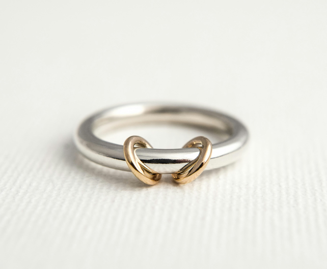 Spinner Ring - Silver and Gold Spinner Ring - Worry Ring - Fidget Ring