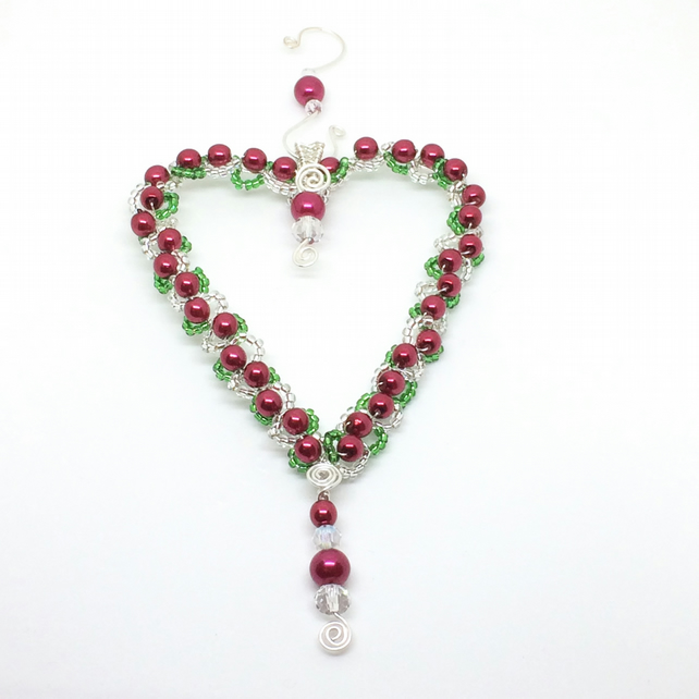 Beaded Heart Decoration, Red Pearls, Hanging Decoration