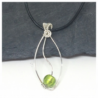 Silver and Lime Green Pendant