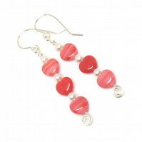 Sterling Silver Red Heart & Pearl Earrings, Gift For Her