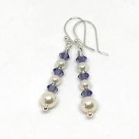 Sterling Silver Earrings, Crystals & Pearls from Swarovski®, Gift For Her