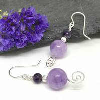 Amethyst Gemstone Earrings, Sterling Silver, Gift for Her, Mother's Day Gift