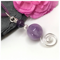 Silver Amethyst Pendant, Sterling Silver, Gift for Her
