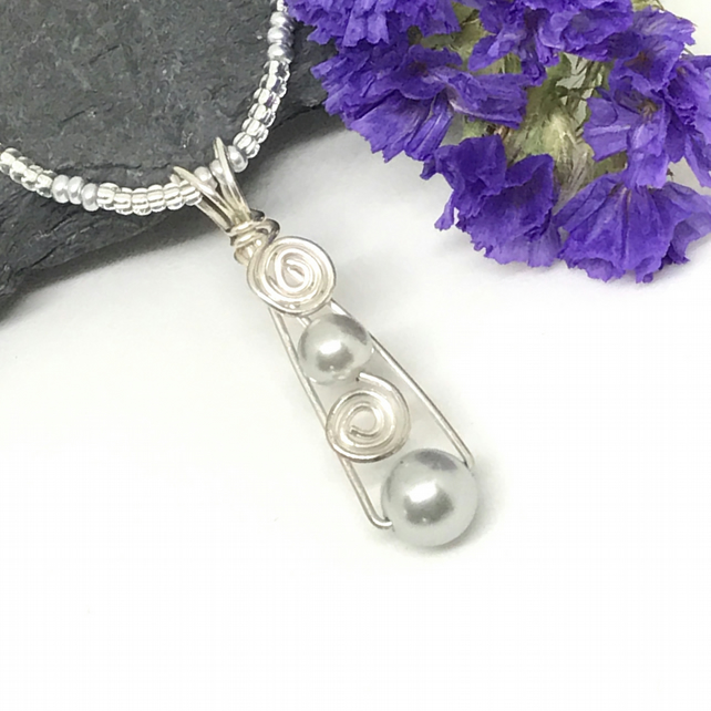 Sale - Silver Pearl Pendant, Sterling Silver, Grey Pearl, Gift for her