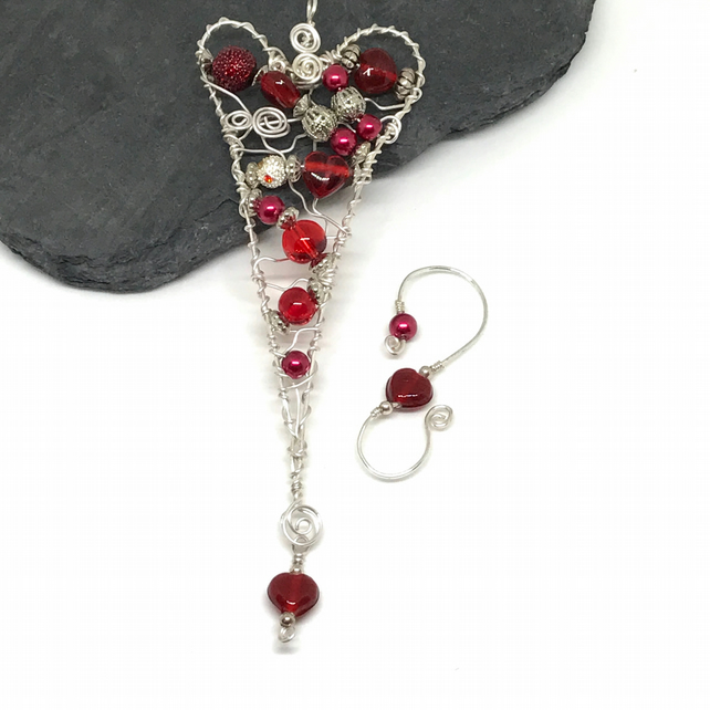 Heart Decoration, Red and Silver, Silver Plated, Wire Wrapped
