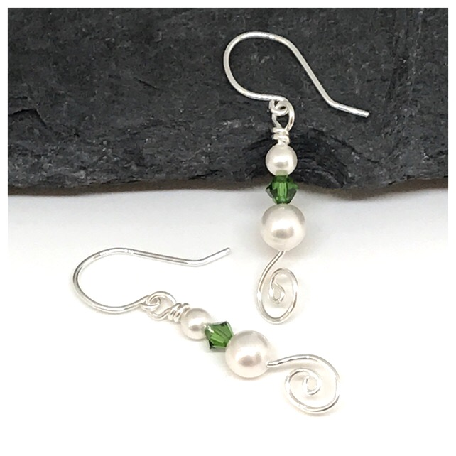 Sterling Silver, Pearl and Green Crystal, Drop Earrings, Gift For Her,