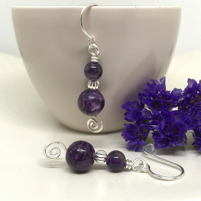 Sterling Silver Purple Jasper & Amethyst Earrings, Gift For Her