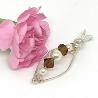 Sterling Silver Pearl and Crystal Pendant, with Swarovski® Crystals