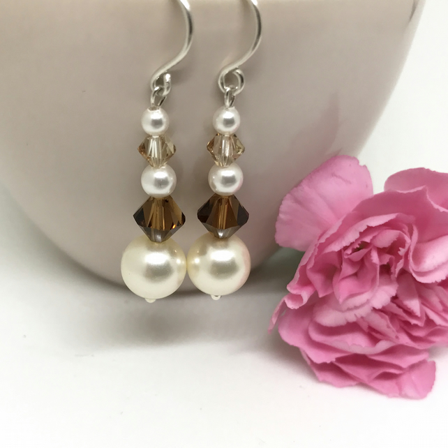 Crystal & Cream Pearl Earrings, Swarovski Crystals, Topaz Colour