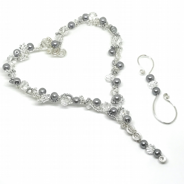 Silver Heart Decoration, Wire Wrapped with Pearls & Crystals, Hanging Decoration
