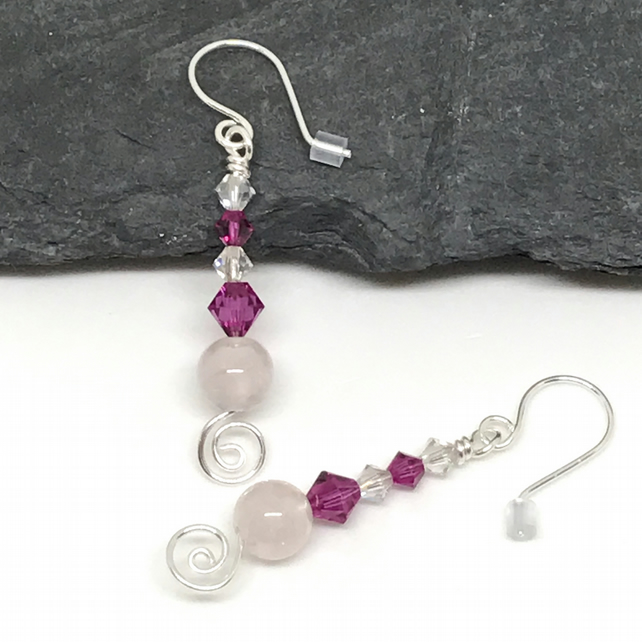 Rose Quartz Earrings, Crystals from Swarovski®, Sterling Silver, Gift For Her