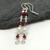 Sterling Silver Earrings, with Swarovski® Crystal & Pearl Earrings, Gift For Her