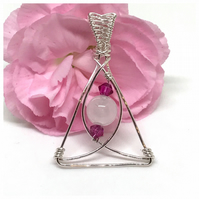 Rose Quartz and Crystal Pendant, Sterling Silver, Gift For Her