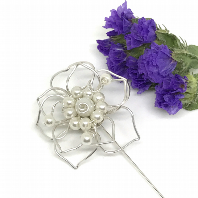 Pearl Flower Lapel Pin,  Silver Plated, Gift For Her